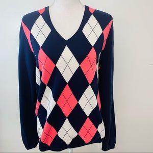 Tommy Hilfiger Womans Argyle Sweater Large  Blue Pink Pima Cotton
